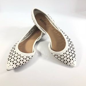 JustFab white faux leather pointed toe flat